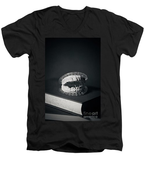 Men's V-Neck T-Shirt featuring the photograph Whose Teeth Are These? by Trish Mistric