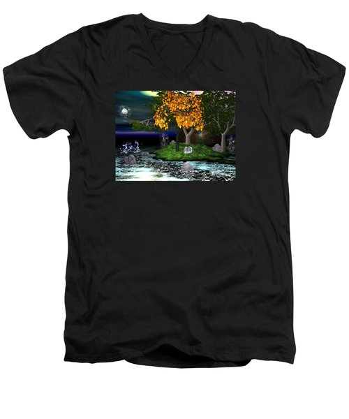 Men's V-Neck T-Shirt featuring the digital art Wicked In The Darkest Hours Of Night by Jacqueline Lloyd