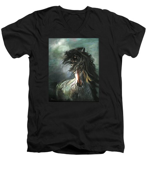 Wild And Free Men's V-Neck T-Shirt by LaVonne Hand