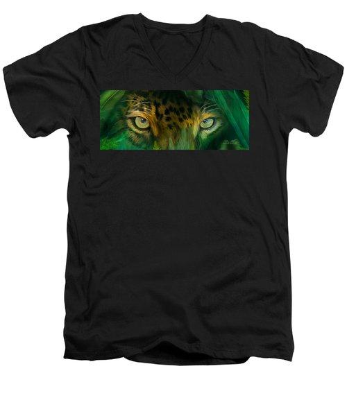 Men's V-Neck T-Shirt featuring the mixed media Wild Eyes - Jaguar by Carol Cavalaris