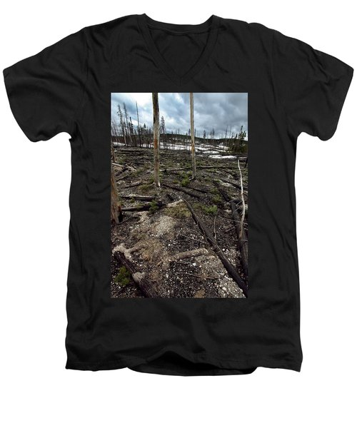 Men's V-Neck T-Shirt featuring the photograph Wild Fire Aftermath by Amanda Stadther