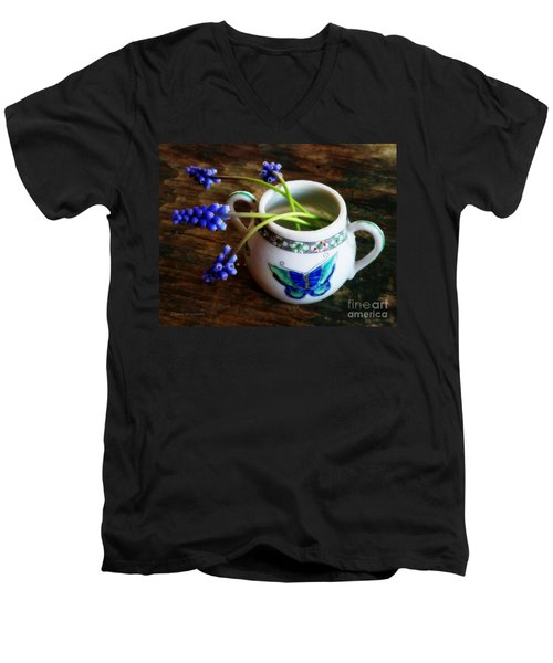Wild Flowers In Sugar Bowl Men's V-Neck T-Shirt by Lainie Wrightson