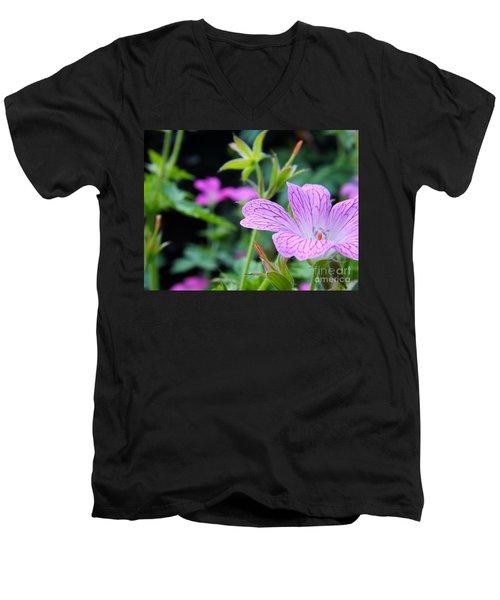Wild Geranium Flowers Men's V-Neck T-Shirt by Clare Bevan