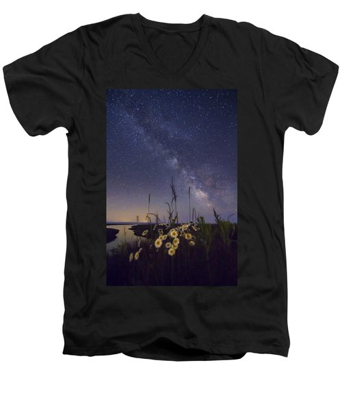 Wild Marguerites Under The Milky Way Men's V-Neck T-Shirt