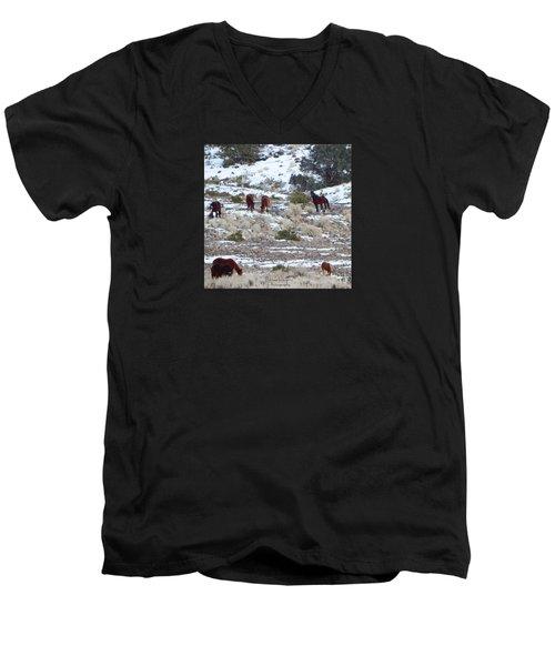 Wild Mustangs In A Nevada Winter Men's V-Neck T-Shirt by Bobbee Rickard