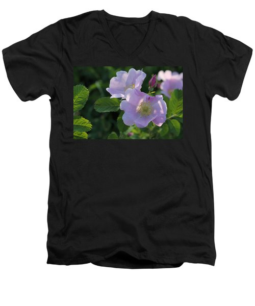 Men's V-Neck T-Shirt featuring the photograph Wild Roses by Ruth Kamenev