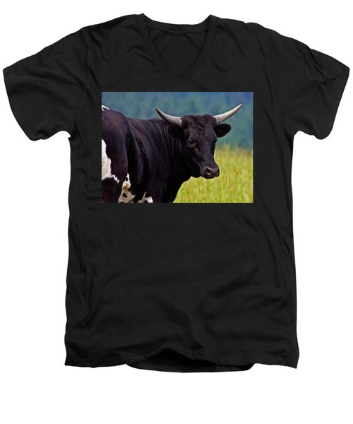 Men's V-Neck T-Shirt featuring the painting Wild Type Colored Heifer Longhorn Cow by Karon Melillo DeVega