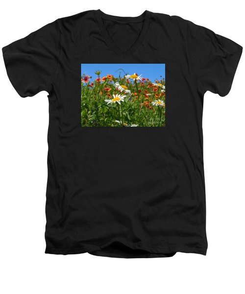 Men's V-Neck T-Shirt featuring the photograph Wild White Daisies #1 by Robert ONeil