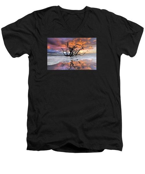 Wildfire Men's V-Neck T-Shirt by Debra and Dave Vanderlaan
