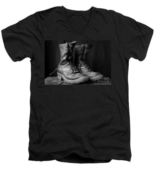 Wildland Fire Boots Still Life Men's V-Neck T-Shirt by Kerri Mortenson