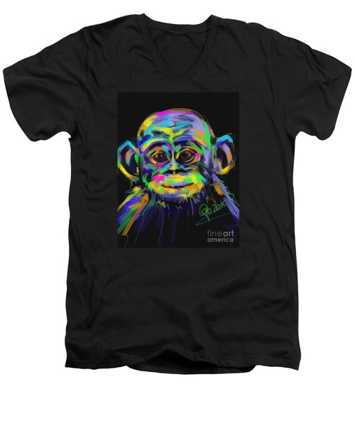 Wildlife Baby Chimp Men's V-Neck T-Shirt by Go Van Kampen