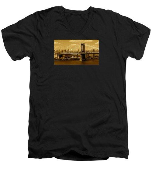 Williamsburg Bridge New York City Men's V-Neck T-Shirt