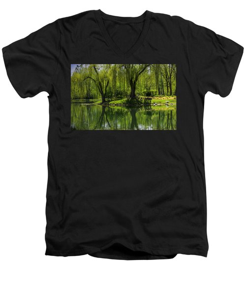 Willows Weep Into Their Reflection  Men's V-Neck T-Shirt