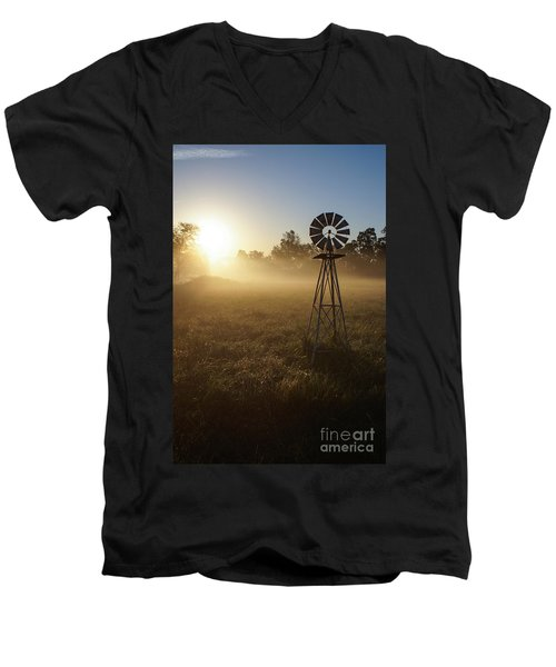 Windmill In The Fog Men's V-Neck T-Shirt