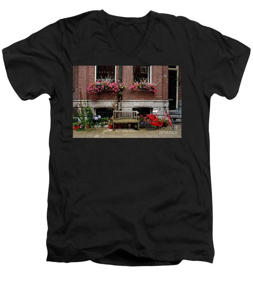 Window Box Bicycle And Bench  -- Amsterdam Men's V-Neck T-Shirt