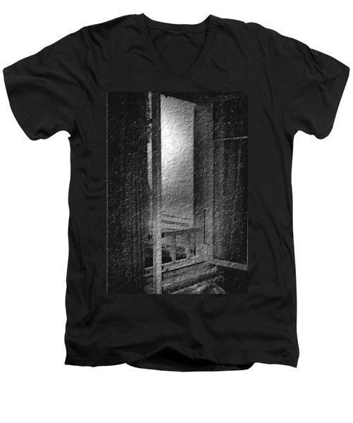 Window Ocean View Black And White Digital Painting Men's V-Neck T-Shirt