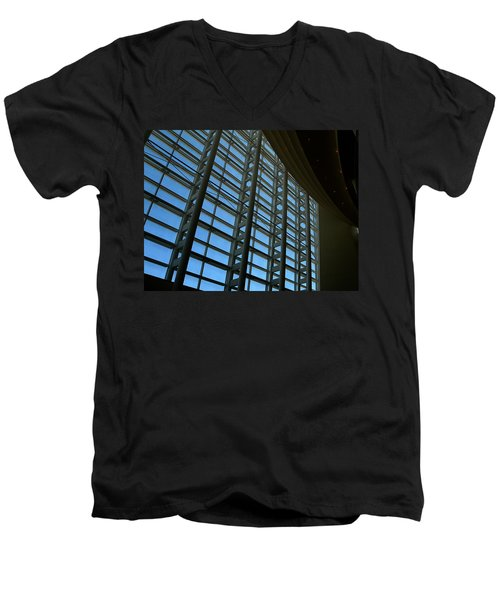 Men's V-Neck T-Shirt featuring the photograph Window Wall At The Adrienne Arsht Center by Greg Allore