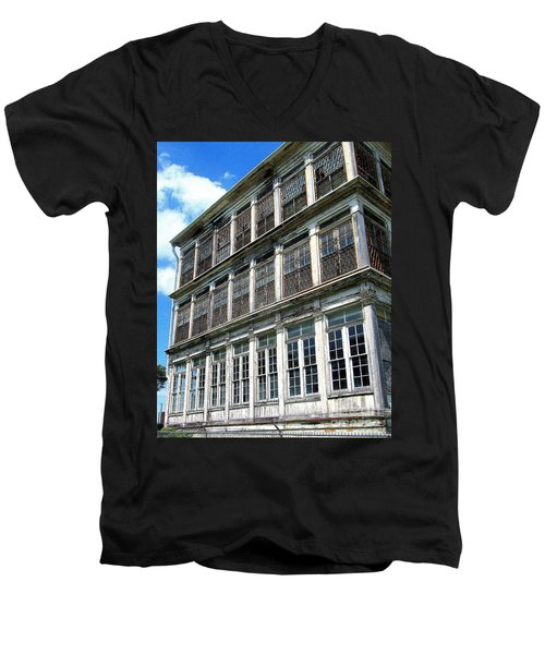 Men's V-Neck T-Shirt featuring the photograph Lunatic Asylum Windows  by Peter Gumaer Ogden