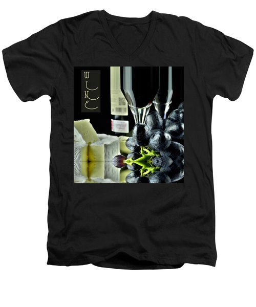 Wine Bottle With Glass Men's V-Neck T-Shirt