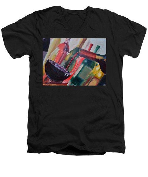 Wine Pour IIi Men's V-Neck T-Shirt by Donna Tuten