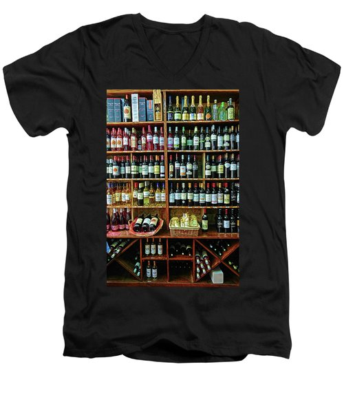 Men's V-Neck T-Shirt featuring the photograph Wine Store Provence France by Dave Mills
