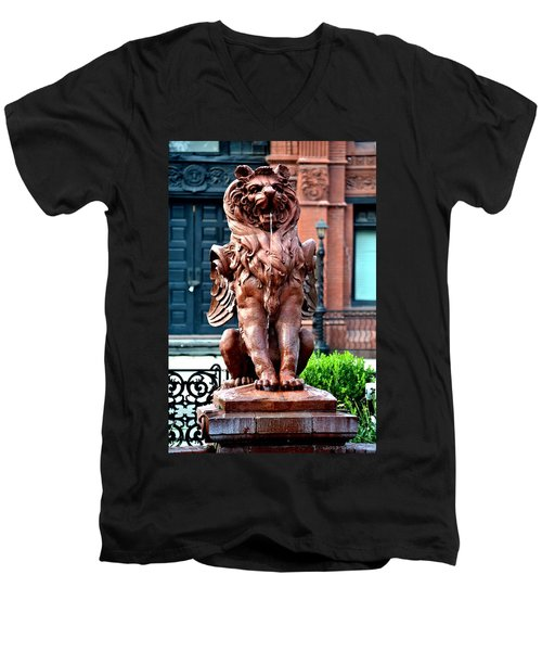 Winged Lion Fountain Men's V-Neck T-Shirt by Tara Potts