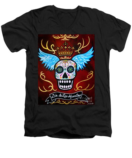 Winged Muertos Men's V-Neck T-Shirt by Pristine Cartera Turkus
