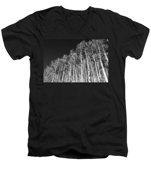Men's V-Neck T-Shirt featuring the photograph Winter Aspens by Roselynne Broussard