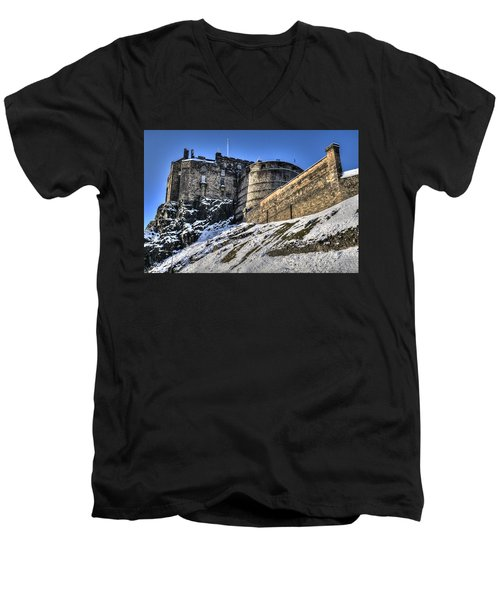 Winter At Edinburgh Castle Men's V-Neck T-Shirt