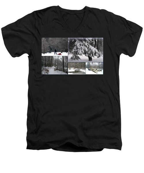 Men's V-Neck T-Shirt featuring the photograph Winter At Petrifying Springs Park by Kay Novy