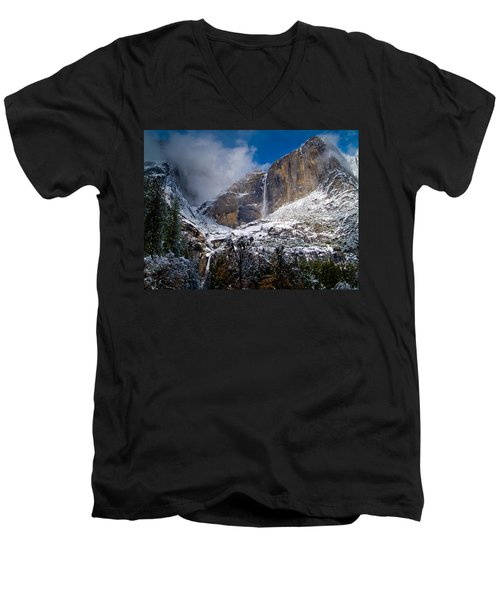 Winter At Yosemite Falls Men's V-Neck T-Shirt by Bill Gallagher
