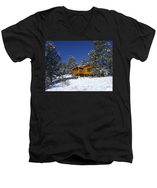 Men's V-Neck T-Shirt featuring the photograph Winter Cabin by Shane Bechler