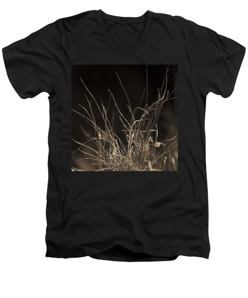 Men's V-Neck T-Shirt featuring the photograph Winter Grass 2 by Yulia Kazansky