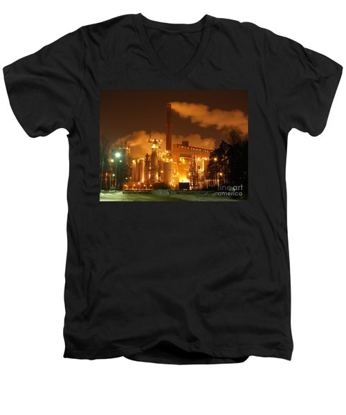 Winter Night At Sunila Pulp Mill Men's V-Neck T-Shirt