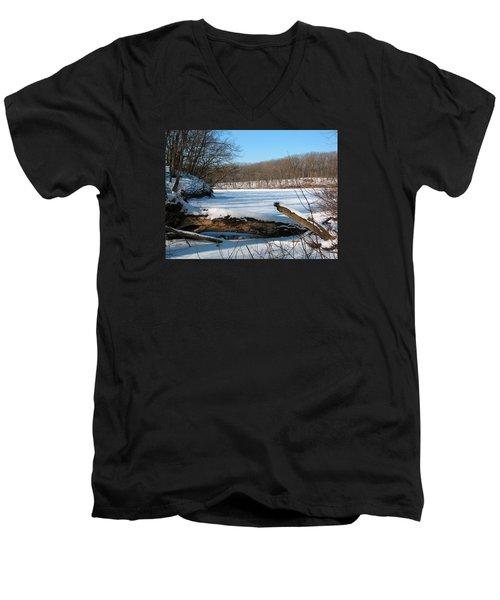Winter On Sauk Lake 2 Men's V-Neck T-Shirt by Cedric Hampton