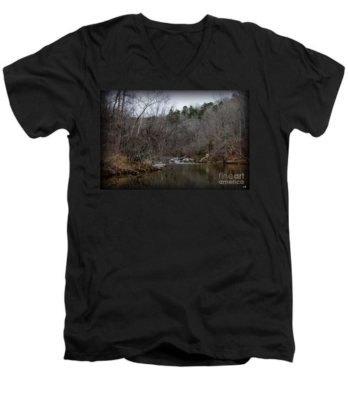 Winter On The Eno River At Fews Ford Men's V-Neck T-Shirt