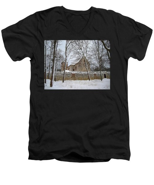 Men's V-Neck T-Shirt featuring the photograph Old Monastery by Gabriella Weninger - David