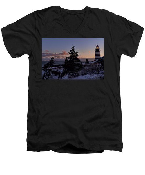 Winter Sentinel Lighthouse Men's V-Neck T-Shirt