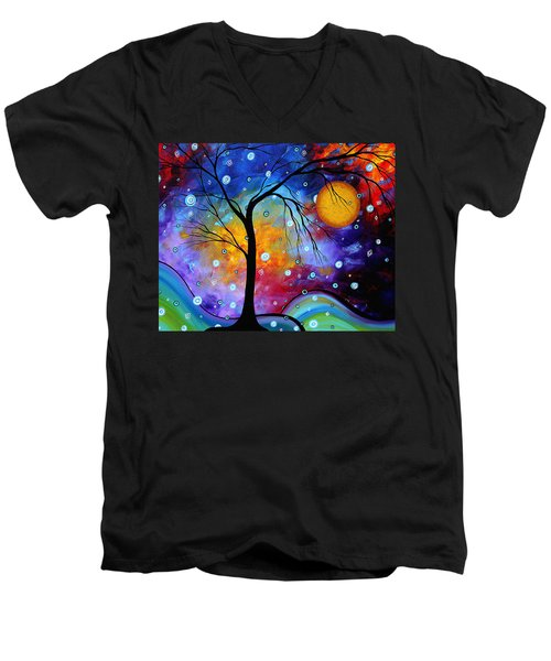 Winter Sparkle Original Madart Painting Men's V-Neck T-Shirt