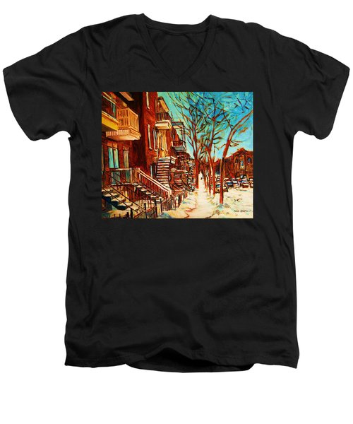 Men's V-Neck T-Shirt featuring the painting Winter Staircase by Carole Spandau