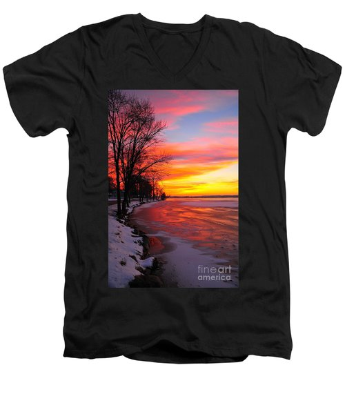 Men's V-Neck T-Shirt featuring the photograph Winter Sunrise On Lake Cadillac by Terri Gostola