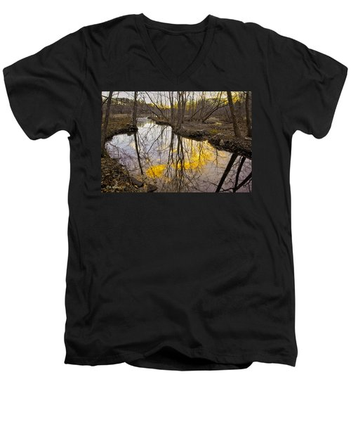 Men's V-Neck T-Shirt featuring the photograph Winter Sunset At Williston Mill by Brian Wallace