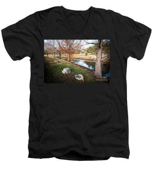 Men's V-Neck T-Shirt featuring the photograph Winter Trees by John Wadleigh