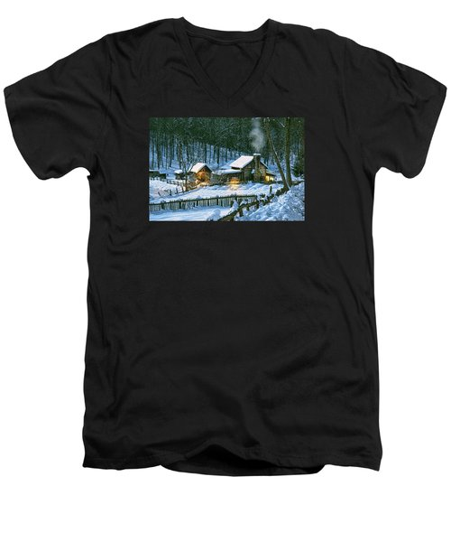 Men's V-Neck T-Shirt featuring the digital art Winter's Haven by Mary Almond