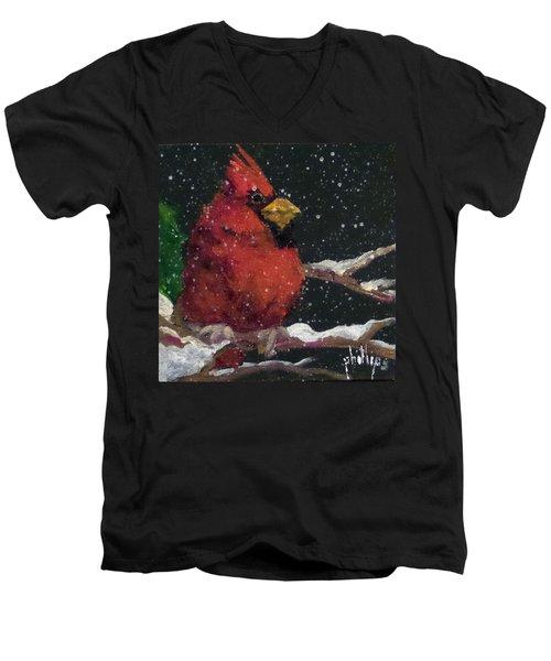 Winter's Red Men's V-Neck T-Shirt