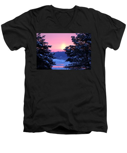 Men's V-Neck T-Shirt featuring the photograph Winter's Sunrise by Elizabeth Winter