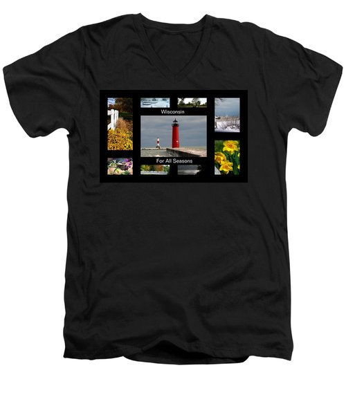 Men's V-Neck T-Shirt featuring the photograph Wisconsin For All Seasons by Kay Novy
