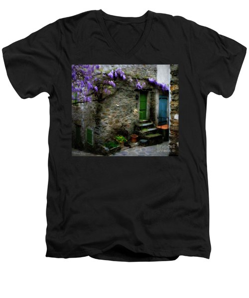 Wisteria On Stone House Men's V-Neck T-Shirt