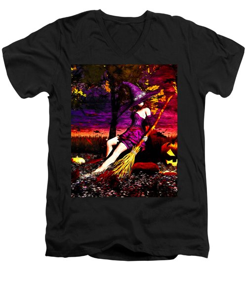 Witch In The Pumpkin Patch Men's V-Neck T-Shirt by Bob Orsillo