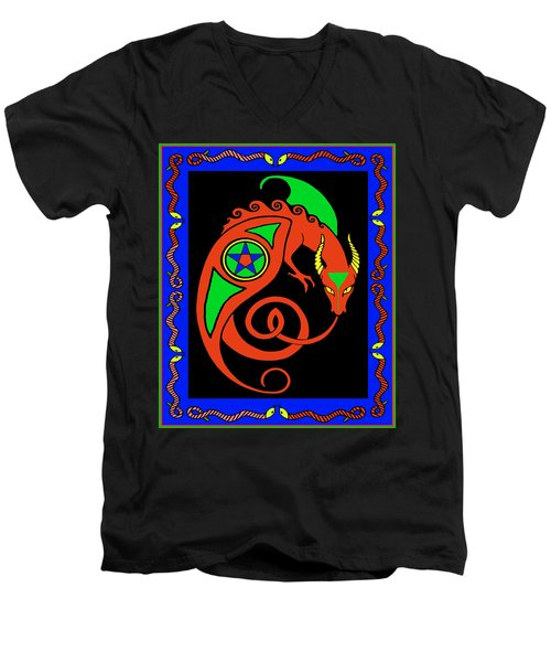 Men's V-Neck T-Shirt featuring the digital art Witches Dragon by Vagabond Folk Art - Virginia Vivier